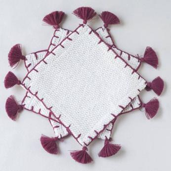 Handwoven Burgundy Coasters
