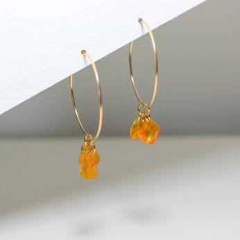 Emma Orange Hoops / Sustainable Recycled Earrings