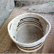 Striped handwoven Basketry with handle