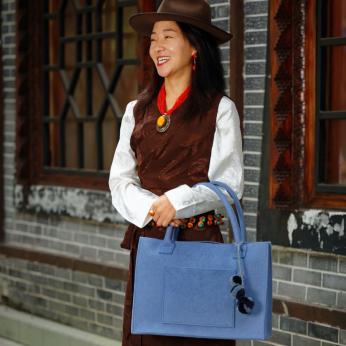 Grey Blue Felt Wool Tote Bag  (0035GBL)