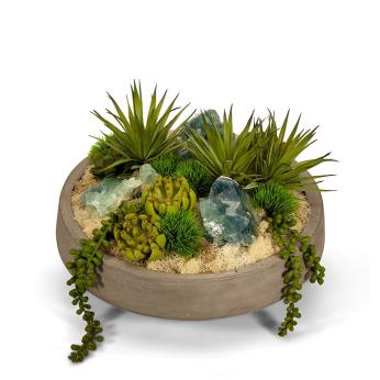 Succulents & Geodes in Concrete Bowl