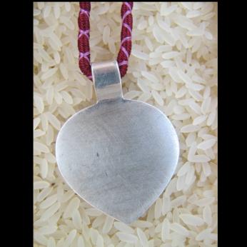 SILVER Lotus Leaf pendant: 100% fine silver handmade tribal wrapped neck string LTD. Edition