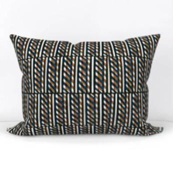 Slant Block Stripes Lumbar Pillow, Ochre
