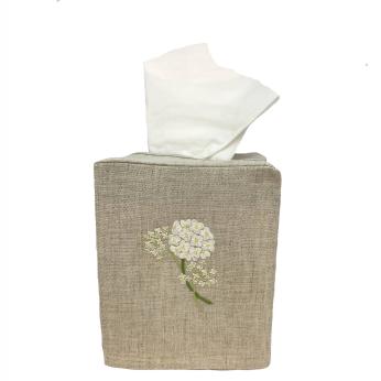 Hydrangea Linen Tissue Box Cover Natural