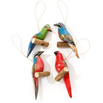 Set of Four Hand Painted Jacaranda Wood Bird on Perch Ornaments