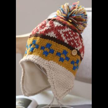Jacquard Helmet Hat with Button Detail