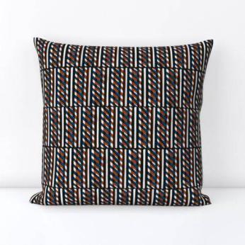 Slant Block Stripes Pillow, Terracotta