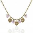 Pink Hearts & Swarovski Crystal Charm Necklace