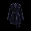 Velvet Piped Short Robe with belt | Midnight