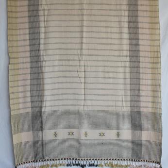 XL organic handspun handwoven beach or bath towel heritage weave /