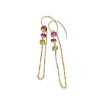 Multi Colored Sapphire Layer Earrings