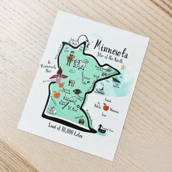 Illustrated Map Design Postcard