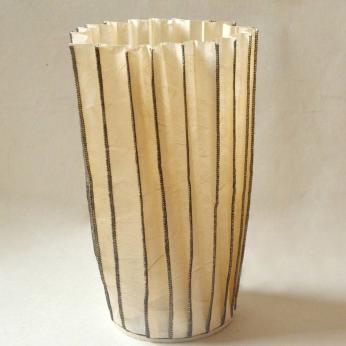 Leatherized Paper Stitched Vase (Natural)  - MEDIUM