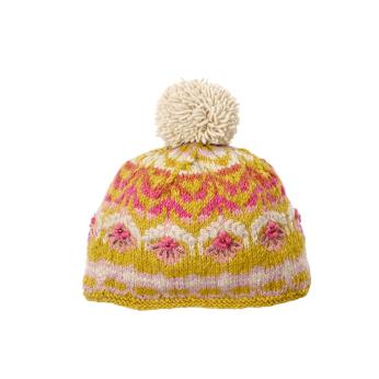 Cozy Floral Hat - Mustard