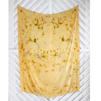 Silk Velvet Throw Pressed with Flowers