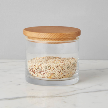 Natural Modern Wood Top Canister, Small