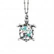 Turquoise Swarovski Crystal Turtle Pendant