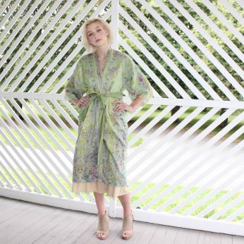 Flower-Dyed Silk Kimono Duster with Sash: Fresh Indigo
