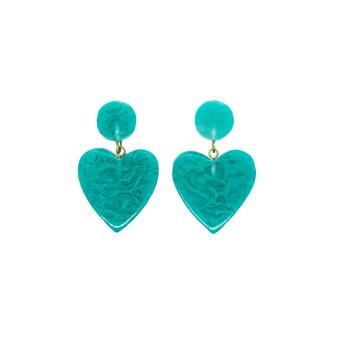Turquoise Swirl Heart Drop Earrings