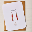 RED CHEVRON STERLING SILVER EARRINGS GREETING CARD