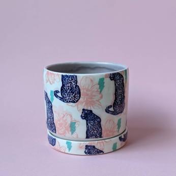Wild Cat Screenprinted Ceramic Planter