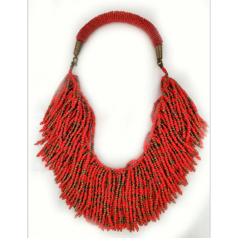 Fringe Beaded Necklace - Multiple Colors
