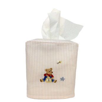 Pink Stripe Tissue Box Cover with Teddy Bear