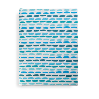 Brush Dashed Stripe Journal in Blue & Teal Green, unlined blank pages