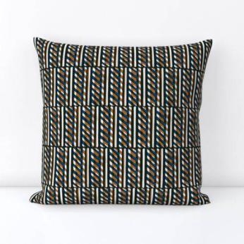 Slant Block Stripes Pillow, Ochre