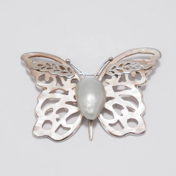 Pink Butterfly with Silver Leaf