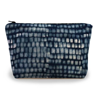 Spotted Grid Pouch, Indigo