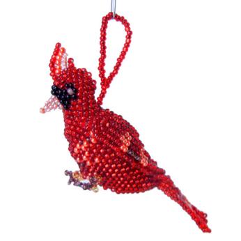 Red Cardinal Beaded Ornament