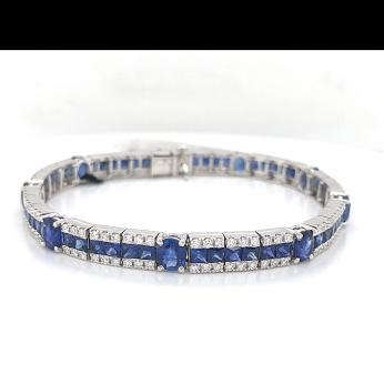 Baguette Sapphire Diamond Bracelet