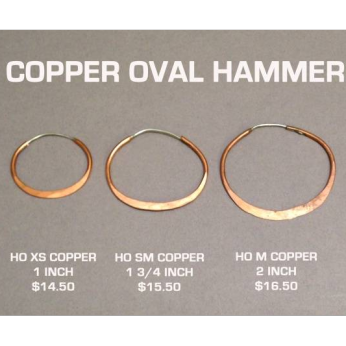 Copper Oval Hammered Hoops