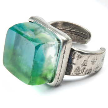 Recycled Glass Adjustable Ring with Pewter Band