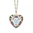 Blue Flower Filigree Heart Pendant