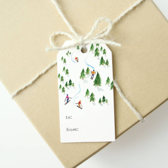 Holiday Gift Tags - Watercolor Winter Ski Scene (Set of 6)