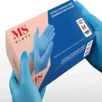 MS Glove - Nitrile Examination Gloves EN Standard (Medical) - Powder Free  Single Use  Ambidextrous  Non-Sterile  Fingertip Textured