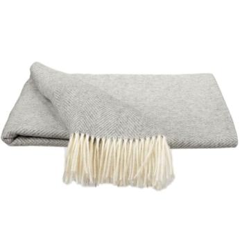 Southampton Home Merino Wool Herringbone Throw (Silver)