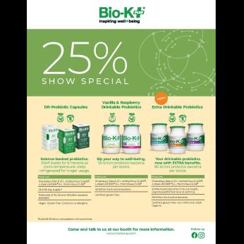 25% off selected Bio-K+ probiotics
