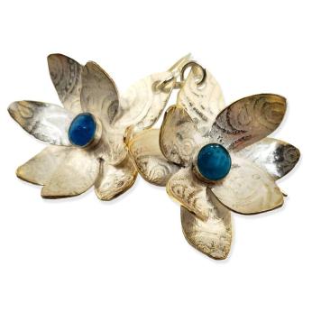 Algoma sterling flower earrings with opal