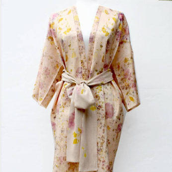 Flower-Dyed Silk Kimono Duster with Sash: Madder & Botanicals