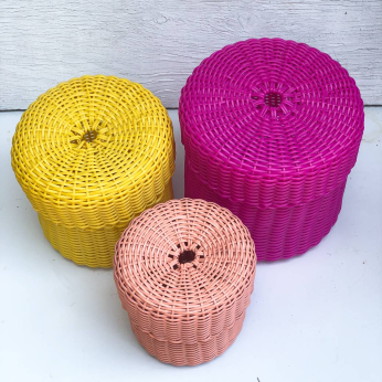 nesting baskets with lids - set of three. solid color or 3 different solid colors.