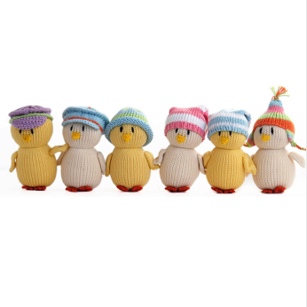 Chicks in Pastel Hats, set of 6