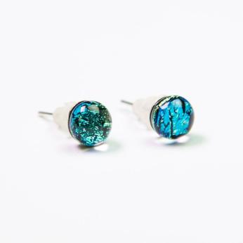 Dichroic Glass Stud Earings