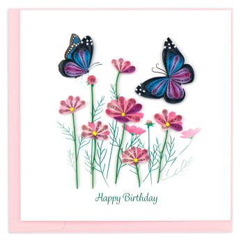 Quilled Birthday Flowers and Butterflies