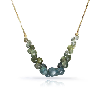 Caviar Scoop Necklace in 14k gold and Moss Aquamarine