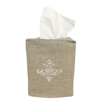 Ornament Linen Tissue Box Cover Natural