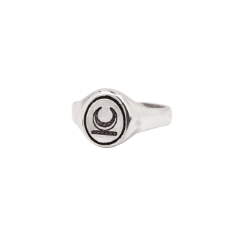 Crescent Moon Oval Signet Ring