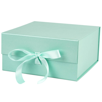 """WRAPAHOLIC 8"""" X 8"""" X 4"""" COLLAPSIBLE MAGNETIC GIFT BOX WITH A SATIN RIBBON- 8 STOCK COLORS"""